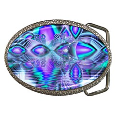 Peacock Crystal Palace Of Dreams, Abstract Belt Buckle (Oval)