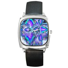 Peacock Crystal Palace Of Dreams, Abstract Square Leather Watch