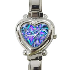 Peacock Crystal Palace Of Dreams, Abstract Heart Italian Charm Watch