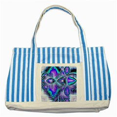 Peacock Crystal Palace Of Dreams, Abstract Blue Striped Tote Bag