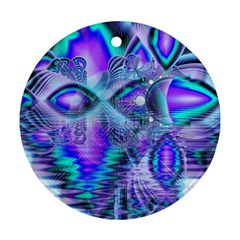 Peacock Crystal Palace Of Dreams, Abstract Round Ornament (two Sides)