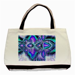 Peacock Crystal Palace Of Dreams, Abstract Twin Sided Black Tote Bag