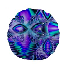 Peacock Crystal Palace Of Dreams, Abstract 15  Premium Round Cushion