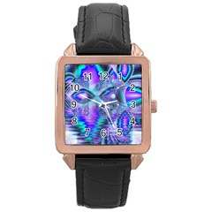 Peacock Crystal Palace Of Dreams, Abstract Rose Gold Leather Watch
