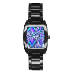 Peacock Crystal Palace Of Dreams, Abstract Stainless Steel Barrel Watch