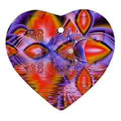 Crystal Star Dance, Abstract Purple Orange Heart Ornament