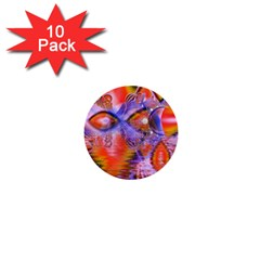 Crystal Star Dance, Abstract Purple Orange 1  Mini Button (10 pack)