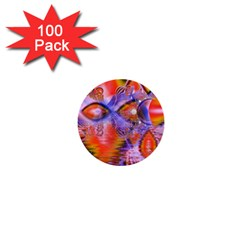 Crystal Star Dance, Abstract Purple Orange 1  Mini Button (100 Pack)
