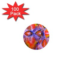 Crystal Star Dance, Abstract Purple Orange 1  Mini Button Magnet (100 pack)