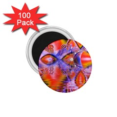 Crystal Star Dance, Abstract Purple Orange 1.75  Button Magnet (100 pack)