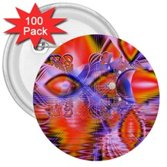 Crystal Star Dance, Abstract Purple Orange 3  Button (100 pack)