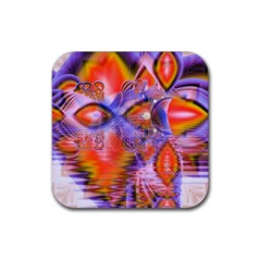 Crystal Star Dance, Abstract Purple Orange Drink Coasters 4 Pack (Square)
