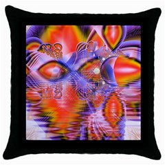 Crystal Star Dance, Abstract Purple Orange Black Throw Pillow Case