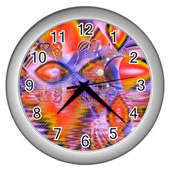Crystal Star Dance, Abstract Purple Orange Wall Clock (Silver)