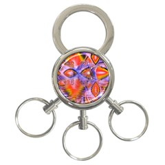 Crystal Star Dance, Abstract Purple Orange 3-Ring Key Chain