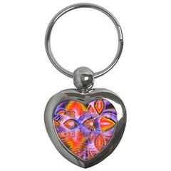 Crystal Star Dance, Abstract Purple Orange Key Chain (Heart)