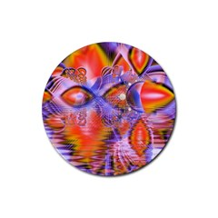 Crystal Star Dance, Abstract Purple Orange Drink Coasters 4 Pack (round)