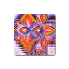 Crystal Star Dance, Abstract Purple Orange Magnet (Square)