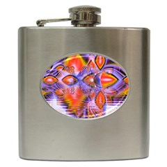Crystal Star Dance, Abstract Purple Orange Hip Flask