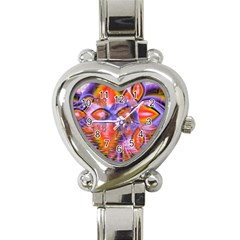 Crystal Star Dance, Abstract Purple Orange Heart Italian Charm Watch