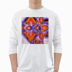 Crystal Star Dance, Abstract Purple Orange Men s Long Sleeve T-shirt (White)