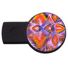 Crystal Star Dance, Abstract Purple Orange 4GB USB Flash Drive (Round)