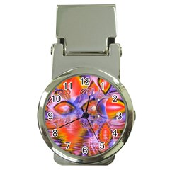 Crystal Star Dance, Abstract Purple Orange Money Clip With Watch