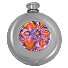 Crystal Star Dance, Abstract Purple Orange Hip Flask (round)