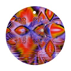 Crystal Star Dance, Abstract Purple Orange Round Ornament (Two Sides)