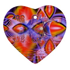 Crystal Star Dance, Abstract Purple Orange Heart Ornament (Two Sides)