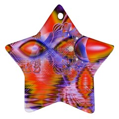 Crystal Star Dance, Abstract Purple Orange Star Ornament (Two Sides)