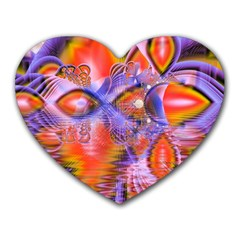 Crystal Star Dance, Abstract Purple Orange Mouse Pad (heart)