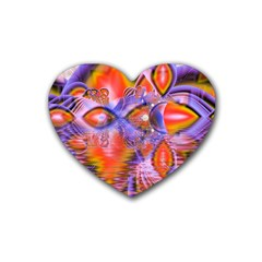 Crystal Star Dance, Abstract Purple Orange Drink Coasters (Heart)
