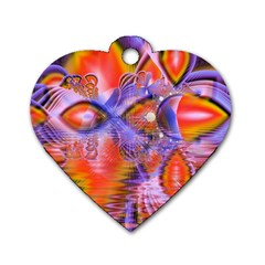 Crystal Star Dance, Abstract Purple Orange Dog Tag Heart (One Sided)