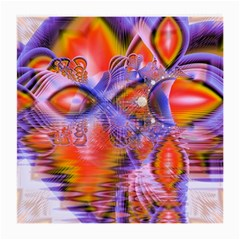 Crystal Star Dance, Abstract Purple Orange Glasses Cloth (Medium, Two Sided)