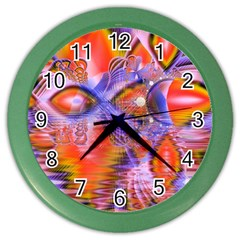 Crystal Star Dance, Abstract Purple Orange Wall Clock (Color)