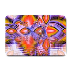 Crystal Star Dance, Abstract Purple Orange Small Door Mat