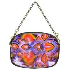 Crystal Star Dance, Abstract Purple Orange Chain Purse (Two Sided)