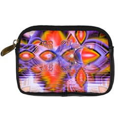 Crystal Star Dance, Abstract Purple Orange Digital Camera Leather Case