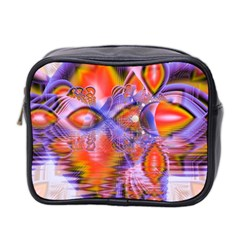 Crystal Star Dance, Abstract Purple Orange Mini Travel Toiletry Bag (Two Sides)