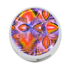 Crystal Star Dance, Abstract Purple Orange 4-Port USB Hub (One Side)
