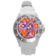 Crystal Star Dance, Abstract Purple Orange Plastic Sport Watch (Large)