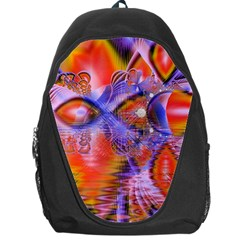 Crystal Star Dance, Abstract Purple Orange Backpack Bag