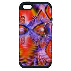 Crystal Star Dance, Abstract Purple Orange Apple Iphone 5 Hardshell Case (pc+silicone)