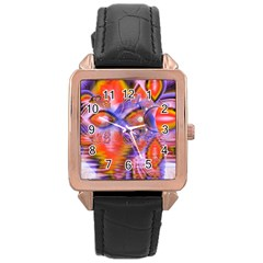 Crystal Star Dance, Abstract Purple Orange Rose Gold Leather Watch
