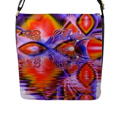Crystal Star Dance, Abstract Purple Orange Flap Closure Messenger Bag (Large)