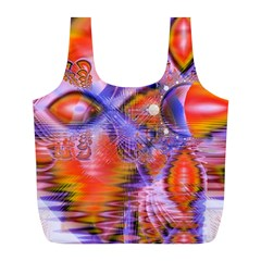Crystal Star Dance, Abstract Purple Orange Reusable Bag (L)