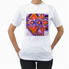 Crystal Star Dance, Abstract Purple Orange Women s T-Shirt (White)