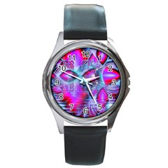 Crystal Northern Lights Palace, Abstract Ice  Round Leather Watch (Silver Rim)