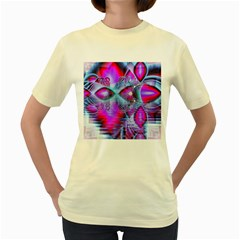 Crystal Northern Lights Palace, Abstract Ice  Women s T Shirt (yellow)